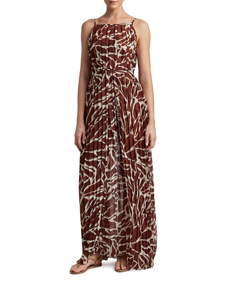 Lenny Niemeyer Pleated Giraffe-Print Coverup Dress