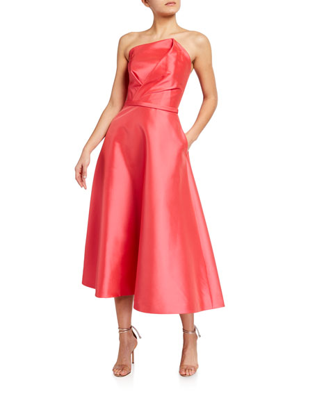 Theia Fold Over Strapless Taffeta Dress