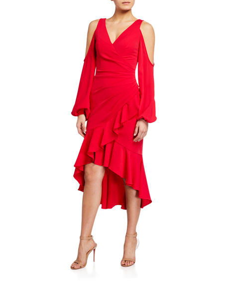 Theia Cold-Shoulder Balloon-Sleeve High-Low Faux-Wrap Dress