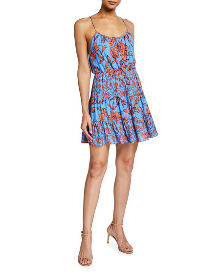 Alice + Olivia Cheyla Tiered Drawstring Short Dress