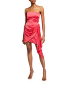 Jay Godfrey Milton Strapless Draped Mini Satin Dress