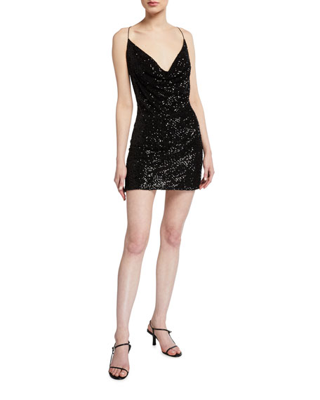Jay Godfrey Baldwin Crystal Mesh Sequin Mini Dress