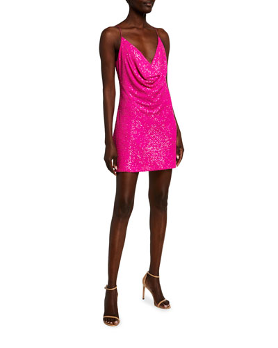 Baldwin Sequin Cowl-Neck Mini Dress