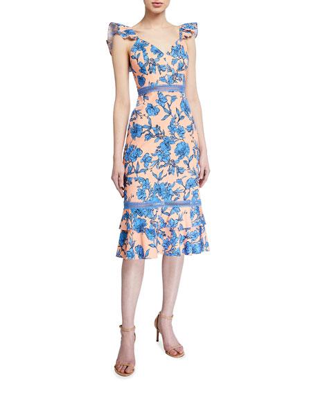 Alice + Olivia Jade Ruffle-Strap Floral Midi Dress