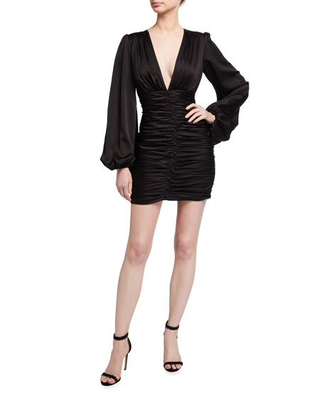 Jay Godfrey Draper Ruched Blouson-Sleeve Mini Satin Dress