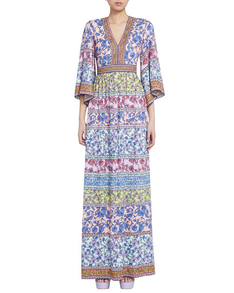Alice + Olivia Lena Embroidered V-Neck Kimono-Sleeve Maxi Dress