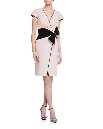 Cap-Sleeve Crepe Dress w/ Bow Detail