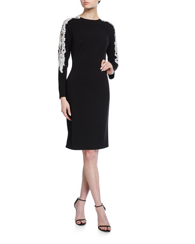 Long-Sleeve Crepe Dress w/ Sequin Detail