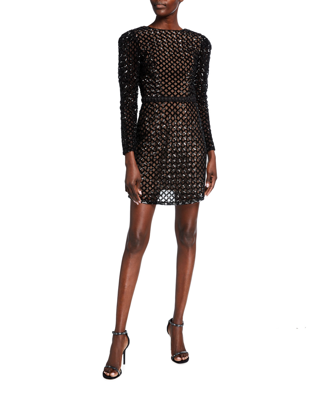 Dress The Population COLLINS LATTICE SEQUIN LONG-SLEEVE SHEATH DRESS