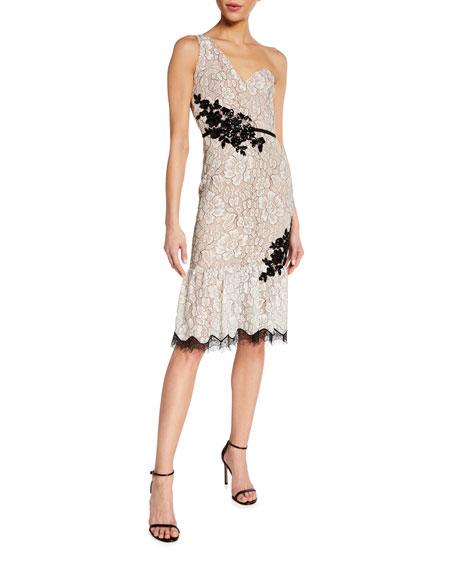 Dress The Population Dallas One-Shoulder Beaded Applique Lace Dress