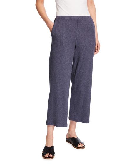 Eileen Fisher Stretch Rib Wide-Leg Cropped Pants