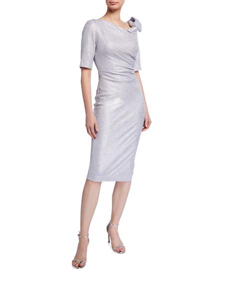 Jovani Metallic Asymmetric Neckline Cocktail Dress