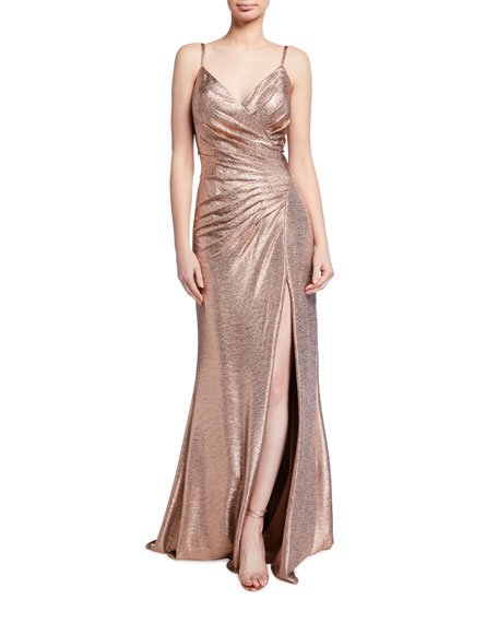 Jovani Spaghetti-Strap High-Slit Metallic Gown