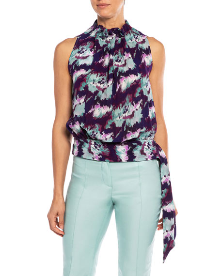 Santorelli Anni Abstract Georgette Sleeveless Blouse