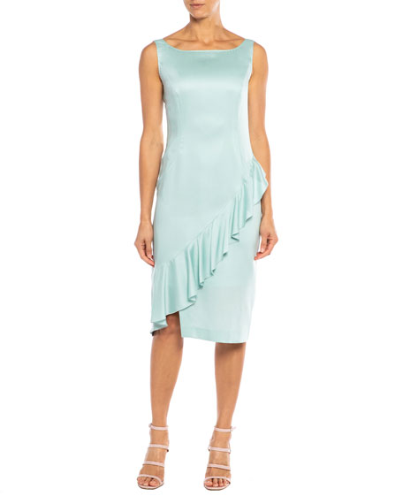 Santorelli Olina Ruffle-Trim Twill Sheath Dress