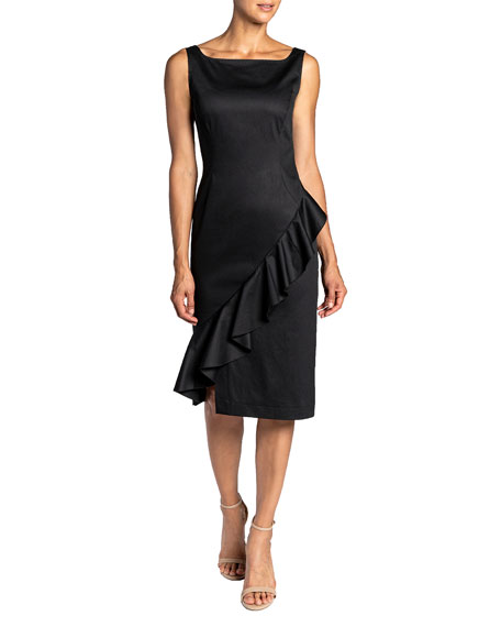 Santorelli Olina Brushed Sateen Sheath Dress w/ Ruffle Trim