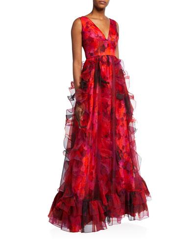 Brett Sleeveless Cascading Ruffle Gown