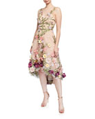 Marchesa Notte V-Neck Embroidered High-Low Dress w/ 3D