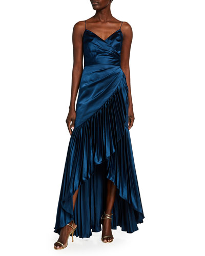 Sharona Charmeuse Cami Gown w/ Pleated Ruffle Skirt
