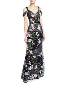 Marchesa Notte Cold-Shoulder Lattice Embroidered Gown w/ 3D