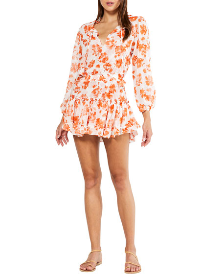 MISA Los Angeles Lorena Floral-Print Long-Sleeve Mini Dress
