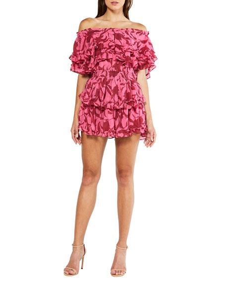 MISA Los Angeles Isella Printed Off-the-Shoulder Mini Ruffle Dress