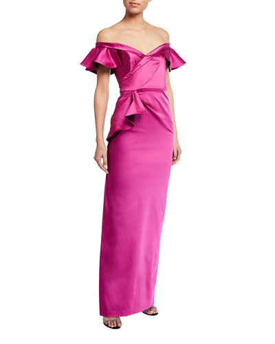 Draped Off-the-Shoulder Stretch Satin Gown w/ Side Ruffle