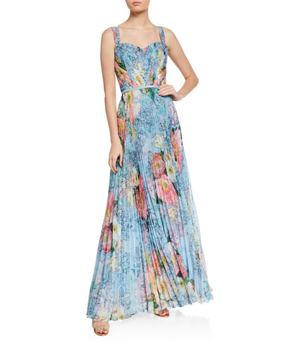 Sweetheart Floral-Print Pleated Chiffon Gown