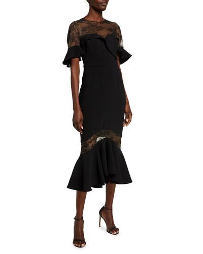 Sweetheart Illusion Ruffle-Sleeve Lace-Yoke Midi Dress