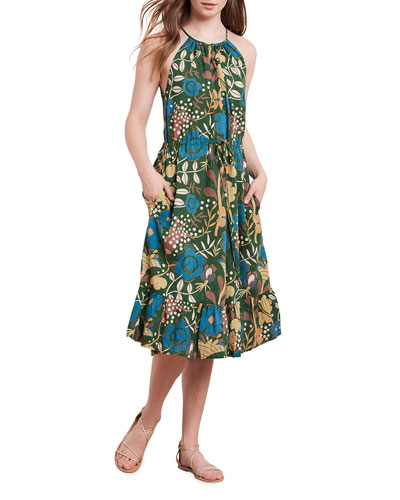 Purl Printed Flounce-Hem Midi Dress