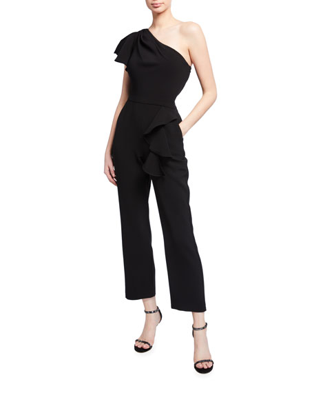 Marchesa Notte One-Shoulder Ruffle-Trim Stretch Crepe Jumpsuit