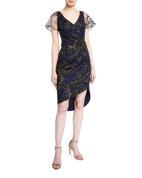 Marchesa Notte Flocked Glitter Tulle Flutter-Sleeve Asymmetric Dress