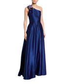 Marchesa Notte One-Shoulder Draped Satin Gown w/ 3D