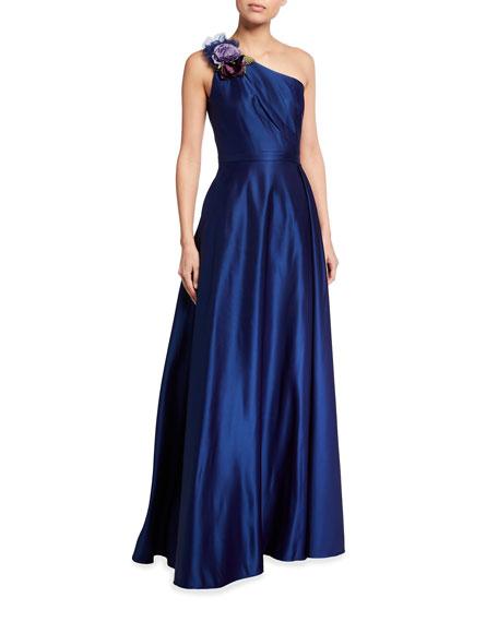 Marchesa Notte One-Shoulder Draped Satin Gown w/ 3D Flower Applique