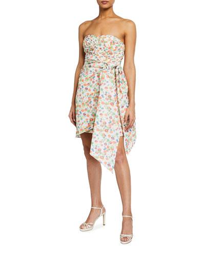 Strapless Printed Taffeta Draped Party Dress