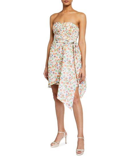 Tory Burch Strapless Printed Taffeta Draped Party Dress