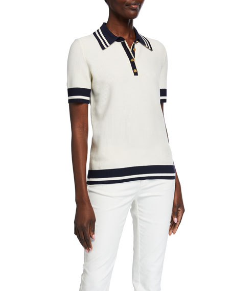Tory Burch Striped-Trim Mesh Polo Shirt
