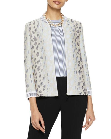 Misook Cheetah-Print Knit Bomber Jacket