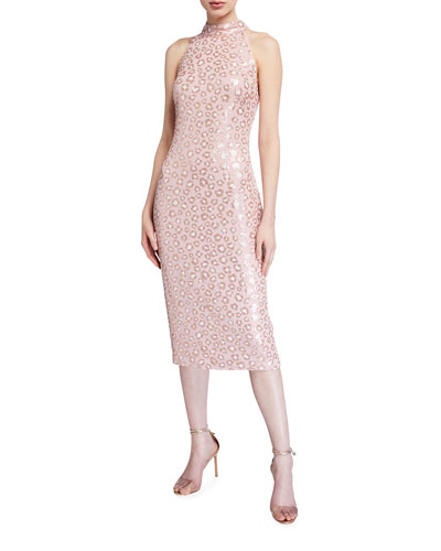 Sequin Animal Sleeveless Midi Dress
