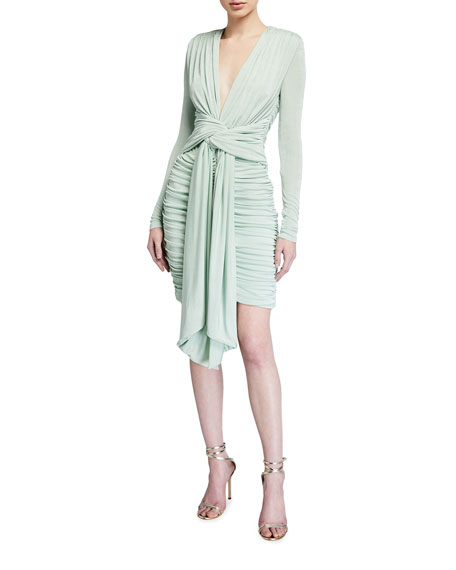 Misha Paola Deep V-Neck Tie-Front Ruched Jersey Dress