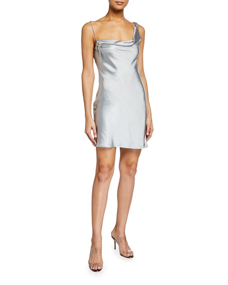 Misha Chandra Satin Drape Neck Asymmetric Mini Dress
