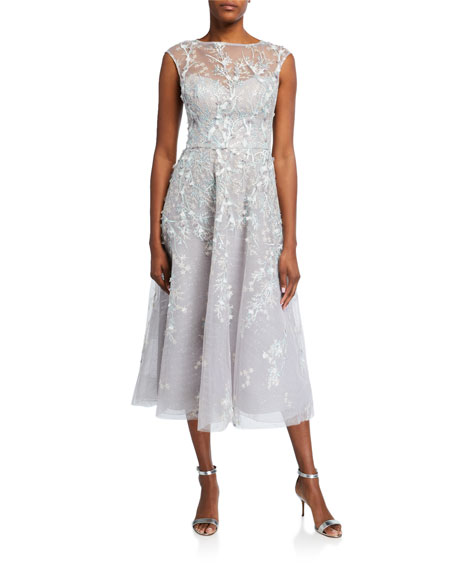 Rickie Freeman for Teri Jon 3D Embroidered Midi Tulle Dress