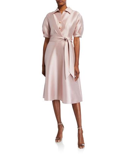 Puff-Sleeve Mikado Shirt Dress