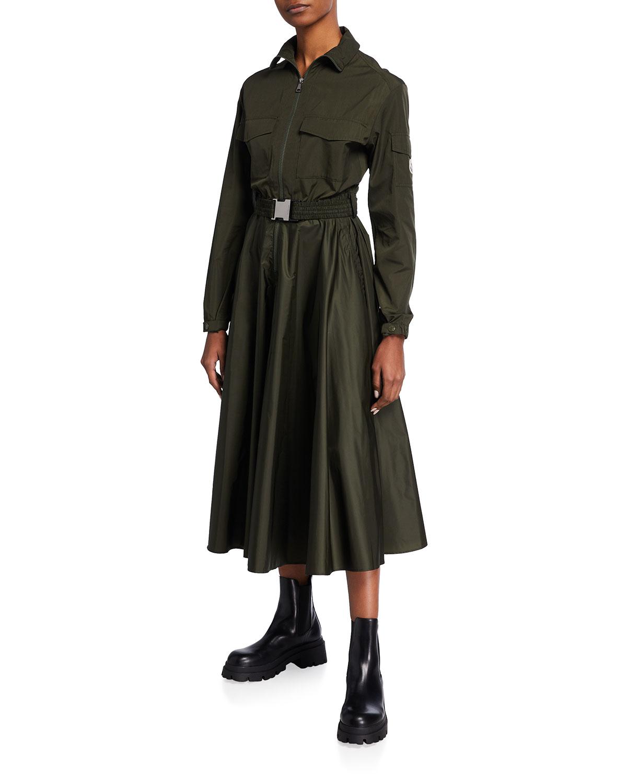 Moncler HIGH-COLLAR PLEATED DRESS
