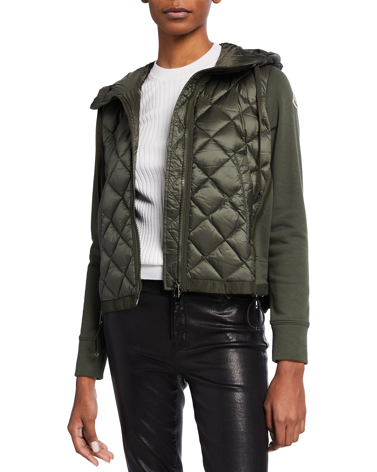 Moncler DOWN KNIT COMBO DIAMOND-QUILTED JACKET