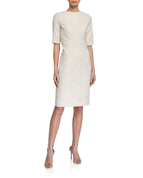 Rickie Freeman for Teri Jon Elbow-Sleeve Stretch Jacquard Sheath Dress
