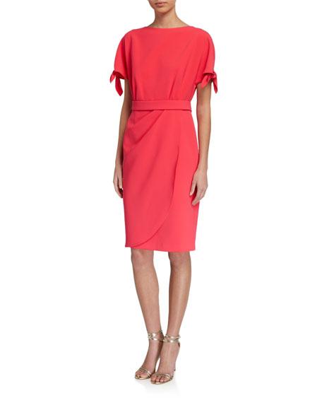 Rickie Freeman for Teri Jon Tie-Sleeve Drape-Skirt Crepe Dress