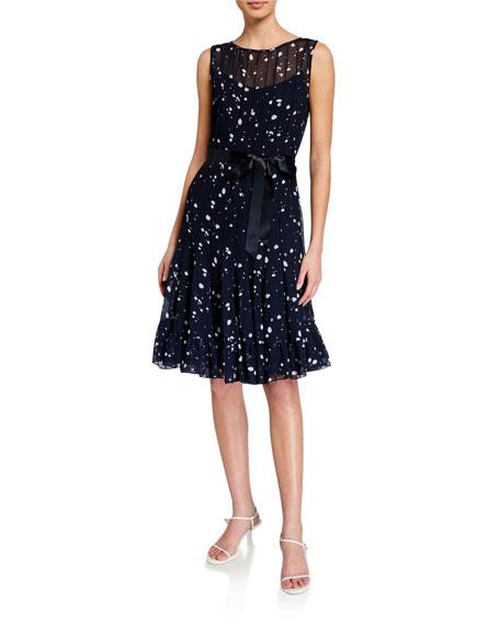 Rickie Freeman for Teri Jon Polka Dot Pintuck Chiffon Sleeveless Dress