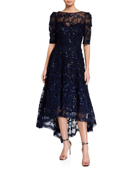 Rickie Freeman for Teri Jon 3D Embellished Lace High-Low Tulle Dress