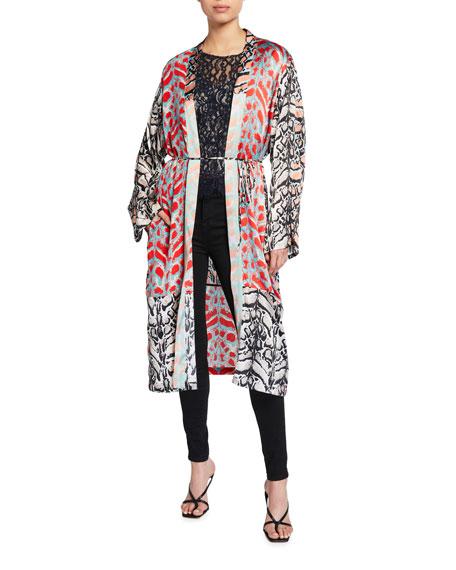 Loyd/Ford Mix Print Long-Sleeve Silk Kimono